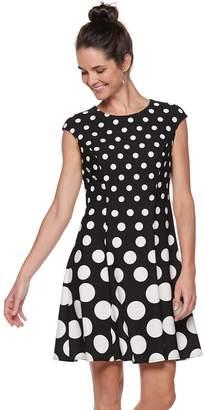 Petite Suite 7 Polka Dot Fit & Flare Dress