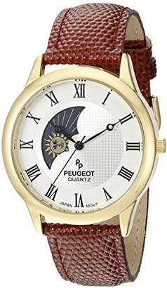 Peugeot Men's 14K Gold Plated Decorative Sun Moon Phase Roman Numeral Leather Band Vintage Large Face Dress Watch 2047GBR