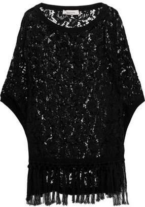 Valentino Tassel-trimmed Cotton Corded Lace Poncho