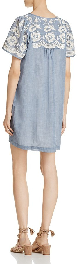 Beltaine Embroidered Chambray Dress 2