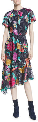 Etro Floral Devore Asymmetric-Hem Dress