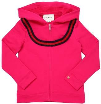 Gucci Hooded Cotton Sweatshirt W/ Web Detail