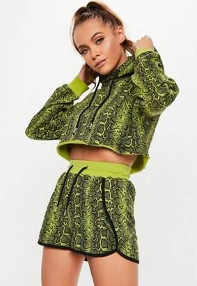 Missguided Green Snake Print Hooded Cropped Sweatshirt