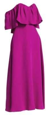 Lela Rose Resort Off-The-Shoulder Silk Ruffle Dress