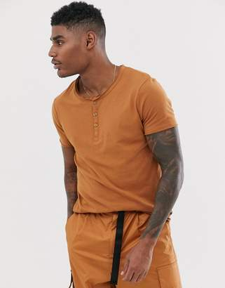 Asos Design DESIGN t-shirt with button scoop neck in brown