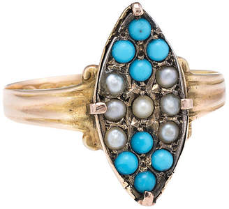 One Kings Lane Vintage Victorian Seed Pearl & Turquoise Ring - Precious & Rare Pieces