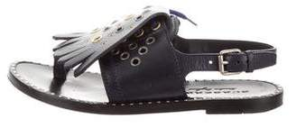 Burberry Grommet Trim Leather Sandals