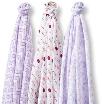 Swaddle Designs Marquisette Swaddle Blankets, Premium Cotton Muslin, SwaddleLite Set of 3, Lavender Lush