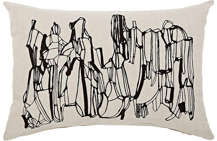 Geo Embroidered Cotton-Linen Pillow