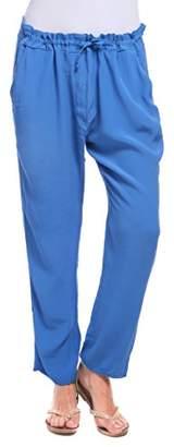 Isabella Collection Roma Women Pantalone Morbido Con Coulisse Blu Royal Trousers,Size M