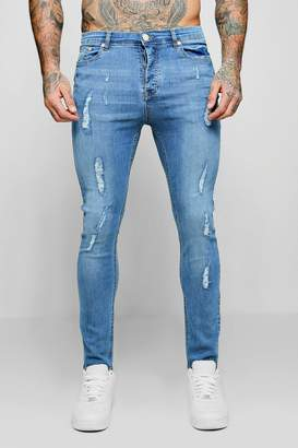 boohoo Super Skinny Jeans With All Over Distressing