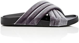 Barneys New York Women's Velvet Crisscross-Strap Slide Sandals $175 thestylecure.com