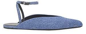 Balenciaga Women's Denim Point Toe Ankle-Strap Flat Sandals