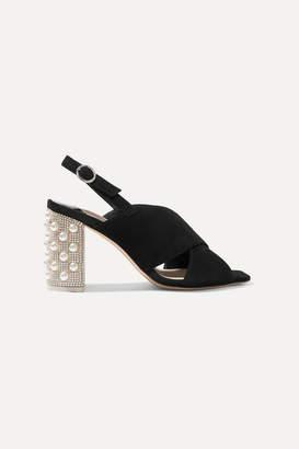 Sophia Webster Nina Crystal And Faux-pearl Embellished Suede Slingback Sandals - Black