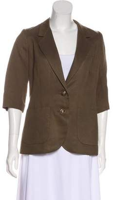 Smythe Linen-Blend Button-Up Blazer