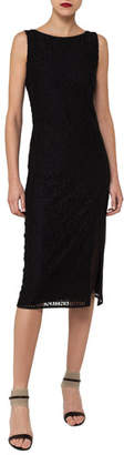 Akris Sleeveless Embroidered Sheath Dress with Side Slit