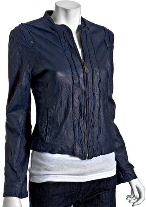 Doma blue washed leather seamed zip jacket