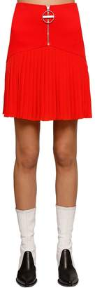 Givenchy Pleated Wool Crepe & Jersey Mini Skirt