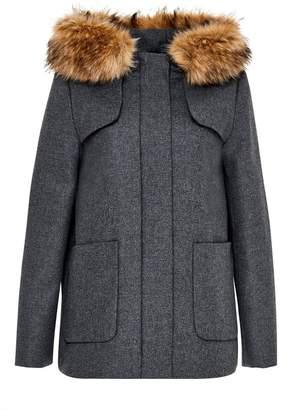 Hallhuber Wool Jacket With Faux Fur Hoodie