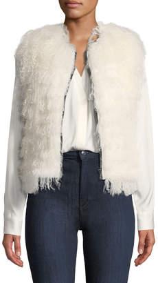 Adrienne Landau Shaggy Lamb-Shearling Vest
