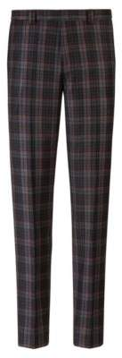 HUGO Boss Extra-slim-fit virgin-wool pattern Glen check pattern 30R Charcoal