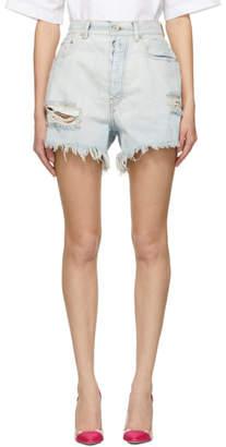 Unravel Indigo Bleached Destroyed Baggy Boy Denim Shorts