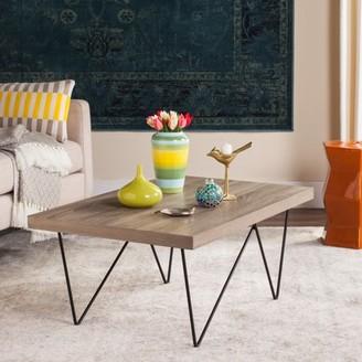 Safavieh Amos Rectangular Retro Mid Century Wood Coffee Table, Light Grey/Black