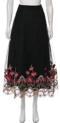Marchesa Embroidered Layered Midi Skirt w/ Tags