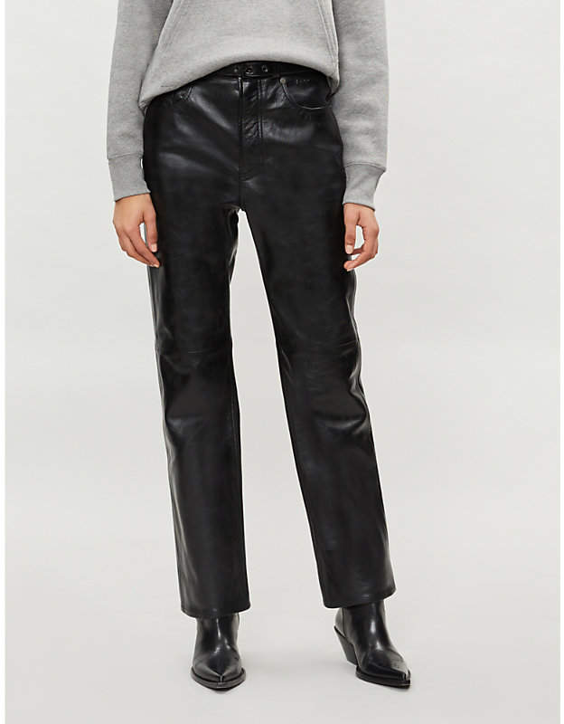 Straight cropped leather trousers