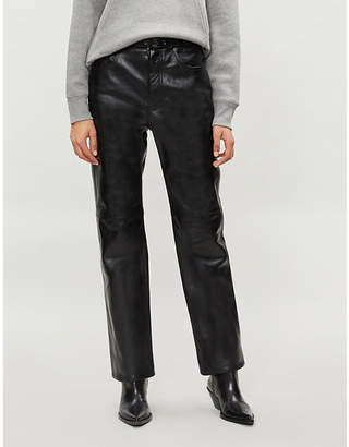 Acne Studios Straight cropped leather trousers