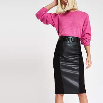 River Island Black woven panel pencil skirt