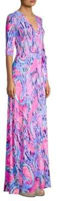 Lilly Pulitzer Printed Wrap Floor-Length Dress