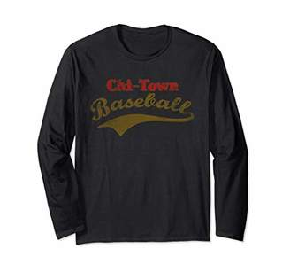 Chi-Town Baseball Distressed Vintage Chicago Long Sleeve T-Shirt