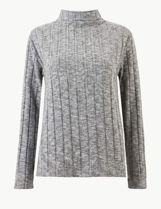 Marks and Spencer Textured High Neck Long Sleeve Sweatshirt