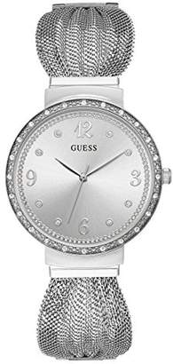 GUESS Women's Stainless Steel Mesh Strap Crystal Accented Watch