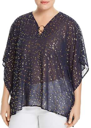 MICHAEL Michael Kors Sheer Metallic Floral-Print Ring Top
