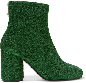 Maison Margiela - Textured-lamé Ankle Boots - Green $875 thestylecure.com