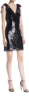 Aidan Mattox V-Neck Bow-Shoulder Sleeveless Sequined Mini Cocktail Dress