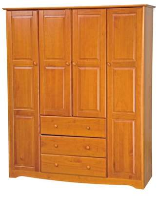 100% Solid Wood Family Wardrobe 5964 by Palace Imports, Honey Pine Color
