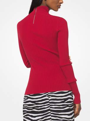 Michael Kors Ribbed Stretch-Viscose Turtleneck