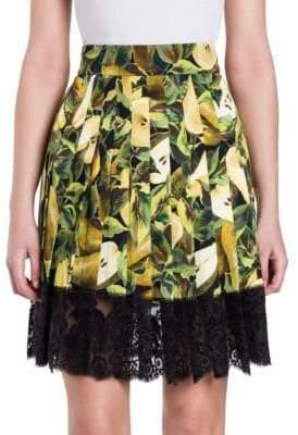 Dolce & Gabbana Lace-Hem Pear Print Skirt