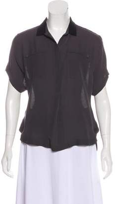 Halston Silk Short Sleeve Button-Up