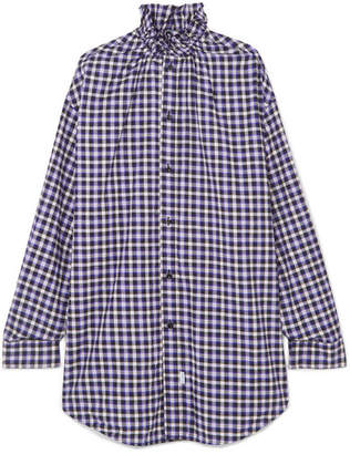 Balenciaga Oversized Checked Cotton-flannel Shirt - Purple
