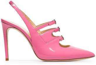 Liudmila pink Bimba 100 triple strap slingback patent leather pumps