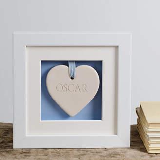 Twenty-Seven Engraved Ceramic Heart Christening Box Frame
