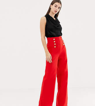 Flounce London Tall wide leg pants with gold button detail in red