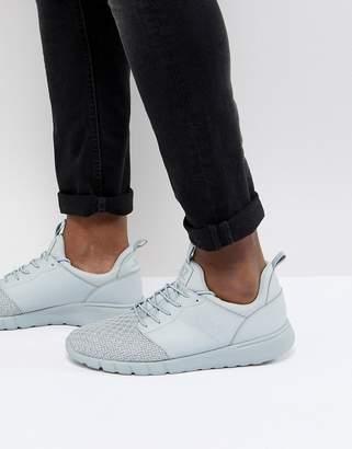 EA7 Woven Knit Racer Sneakers In Gray