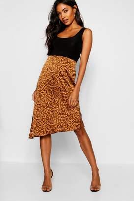 boohoo Tan Satin Leopard Asymetric Hem Midi Skirt