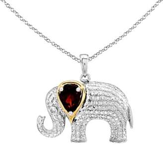 Sterling & 14K Garnet & Diamond Elephant Pendant w/Chain