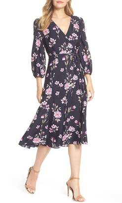Eliza J Floral Print Wrap Dress (Regular & Petite)